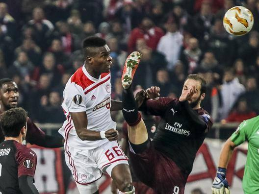 AC Milan crash out of Europa League after Olympiacos defeat